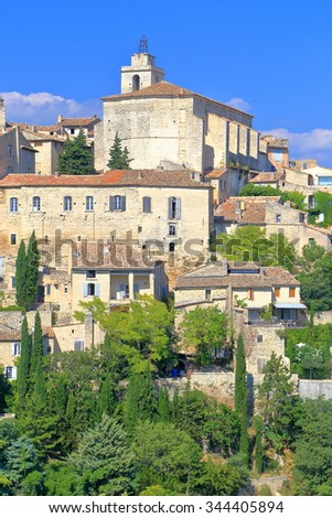 Old church and historical buildings on a hilltop in Gordes, Provence-Alpes-Cote d'Azur, France