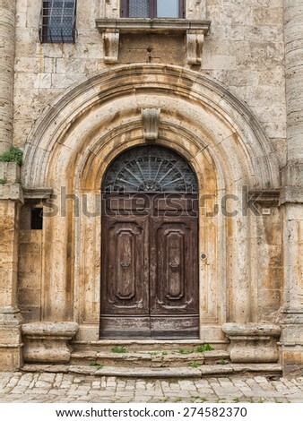 Old church door in Italy - stock photo