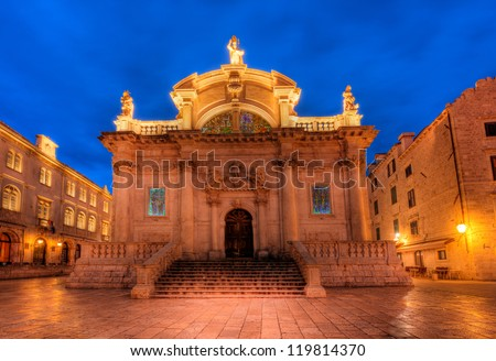 Old church in city center of Dubrovnik Croatia Europe - stock photo