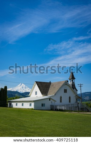 Old church in Hood River Valley, Oregon - stock photo