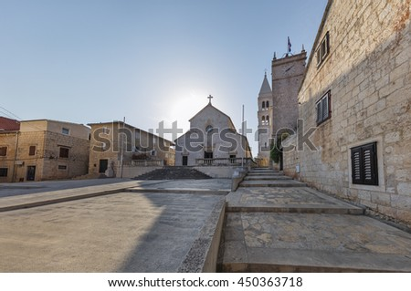 Old church in Supetar in early morning, Croatia