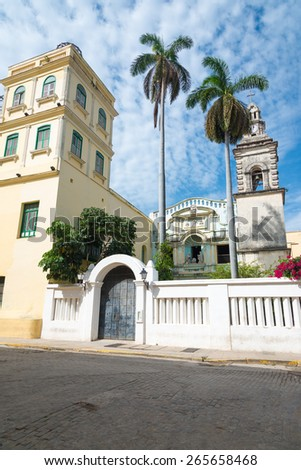 Old church in the colonial neighborhood of Havana - stock photo