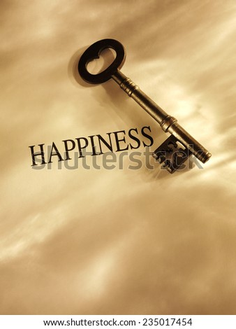 Old church key with the word happiness on a paper background with gold lighting and copy space.