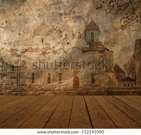 Old church on grunge wall - stock photo