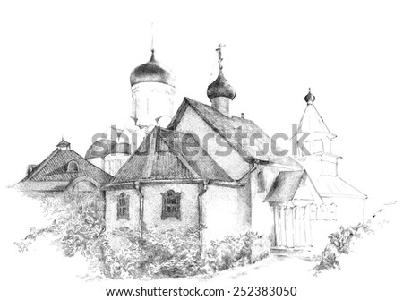 Old church pencil drawing - stock photo