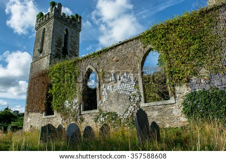 Old Church Ruin with Graveyard in Ireland - stock photo
