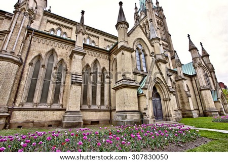 Old Church Toronto on Church Street gothic - stock photo