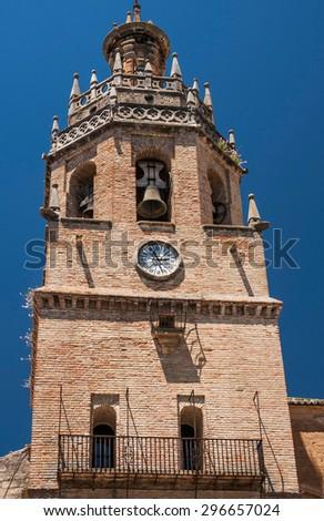 Old church Tower in Ronda, Andalusia Spain near Malaga - stock photo