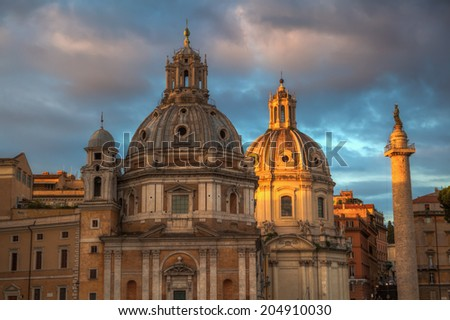 old churches at the Imperial Forum in Rome, Italy