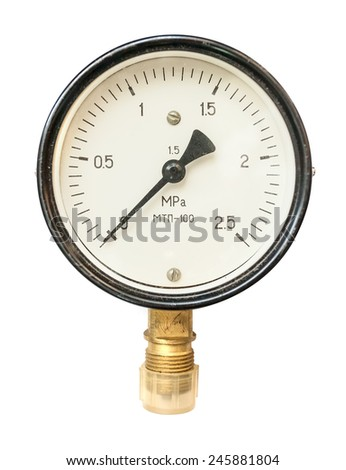 Old circular industrial pressure gauges - stock photo