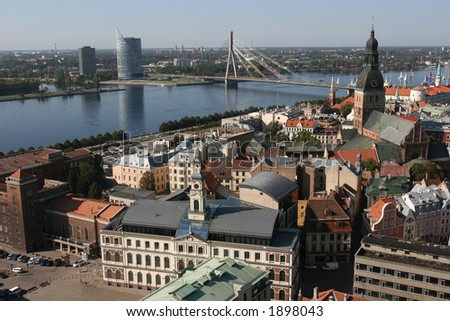 Old City and Daugava river View (Riga, Latvia). View from St. Peter Cathedral