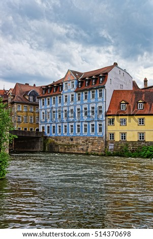 Old city and Regnitz River in Bamberg in Upper Franconia, Bavaria, Germany.
