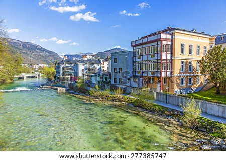 old city Bad Ischl at traun river under blue sky