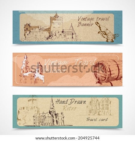 Old city buildings sketch decorative banners set isolated  illustration
