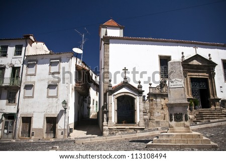 Old city center of Braganca, Tras-os-Montes region in Portugal - stock photo