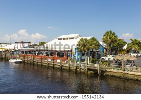 old city dock  in tropical Naples Florida - stock photo