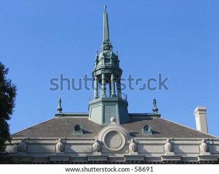 Old City Hall, Berkeley, California -- Detail of roofline and cupola - stock photo