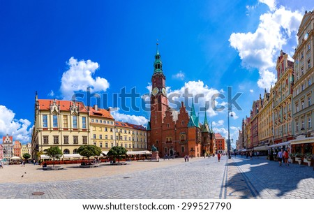 Old City Hall in Wroclaw, Poland in a summer day - stock photo