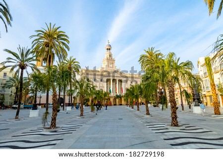 Old city hall of the city of Cadiz, Spain - stock photo
