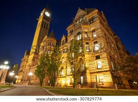 Old City Hall Toronto Ontario Canada downtown night photo - stock photo