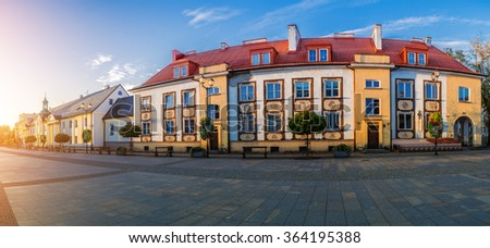 Old city in Bialystok. Bialystok is the largest city in northeastern Poland and the capital of the Podlaskie Voivodeship. - stock photo
