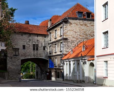 Old city in Tallinn, Estonia. Big Sea gate - stock photo