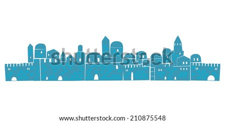Old City, Middle East Town,  Illustration - stock photo