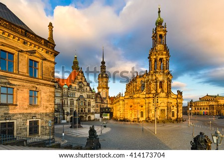 Old city of Dresden, Germany on a sunny day - stock photo