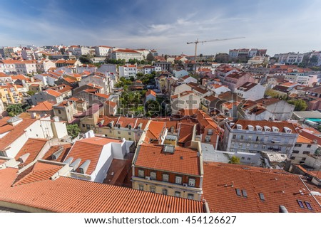 Old city of Lisbon seen from above, Portugal