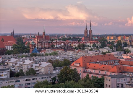 Old city of Wroclaw and cathedral on Ostrow Tumski island  - stock photo