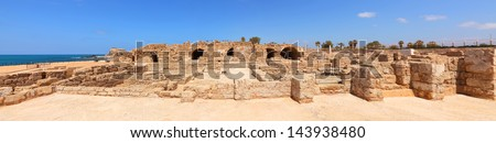 Old city on the blue perfect Mediterranean sea panoramic view. Caesarea. Israel