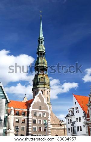 old city part in Riga, Latvia - stock photo