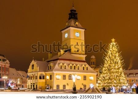 Old city square of Brasov during winter holidays, Brasov Romania - stock photo