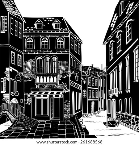Old city street.  Illustration.