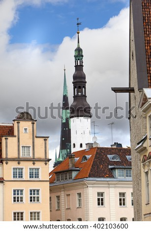 Old city, Tallinn, Estonia. old houses and Holy Spirit Church  - stock photo