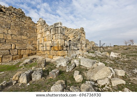 Old city walls of ancient city of Hierapolis,Pamukkale, Turkey.