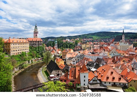 Old city with State Castle and bend of Vltava River in Cesky Krumlov in Czech Republic.