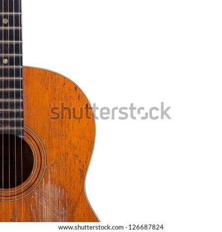 Old classic acoustic guitar isolated on white with clipping path - stock photo