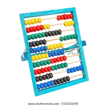 Old classic arithmetic abacus.  Different colors on a white background. - stock photo