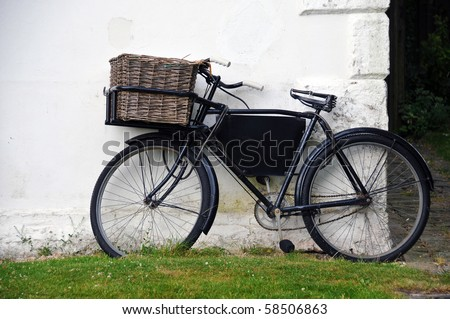 Old classic bicycle - stock photo