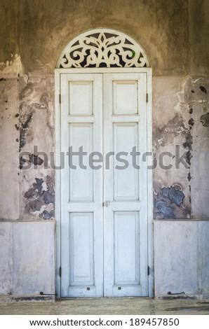 Old classic door and window - stock photo