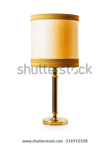 Old classic floor or table lamp isolated on white background. Retro style. Object with clipping path - stock photo