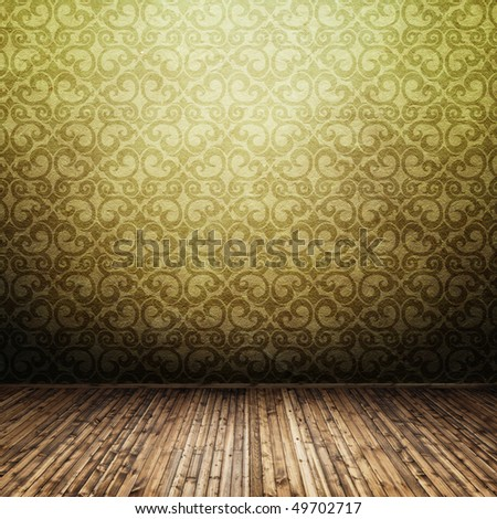 old classic interior with empty space - stock photo