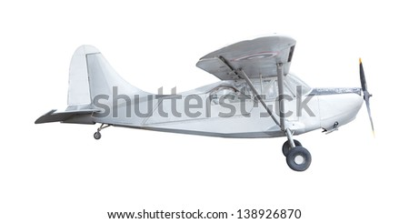 old classic plane isolated white background - stock photo