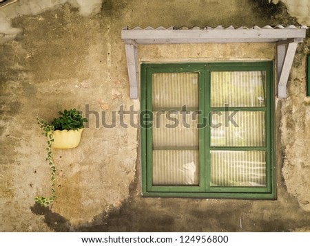 Old classic traditional Chinese house wall and window