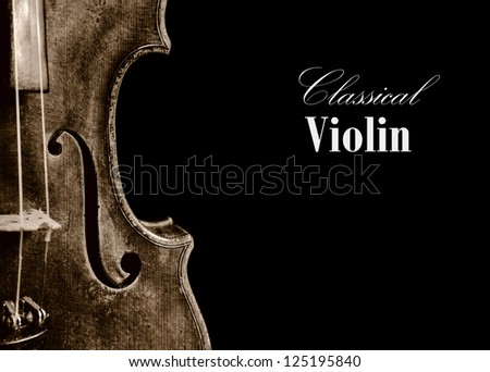 Old classical isolated violin romantic background - stock photo