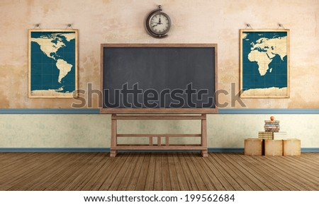 Old classroom with blackboard and vintage objects - rendering - stock photo