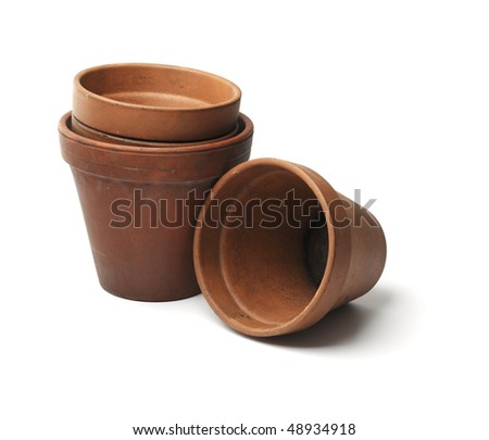 Old clay pots used in gardening isolated on white with natural shadow