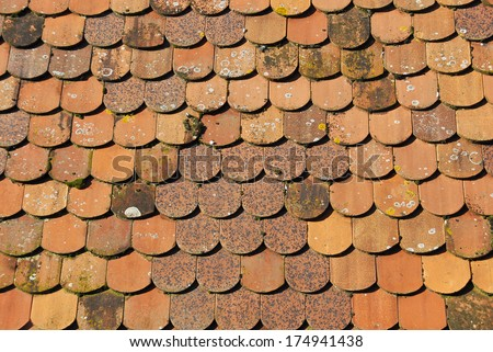Old clay roof tiles, Rothenburg ob der Tauber, Germany. - stock photo