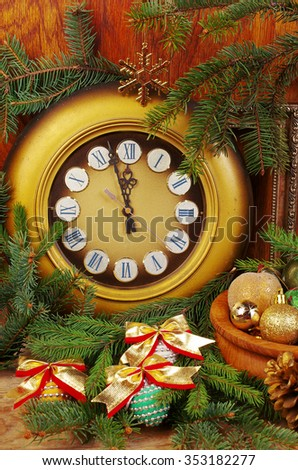 Old clock and christmas decorations.